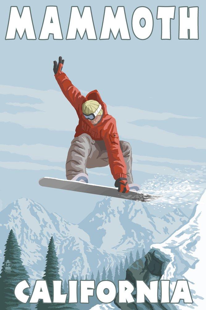 Mammoth、カリフォルニア – Snowboarder Jumping 36 x 54 Giclee Print LANT-47877-36x54 36 x 54 Giclee Print  B017E9SO4I