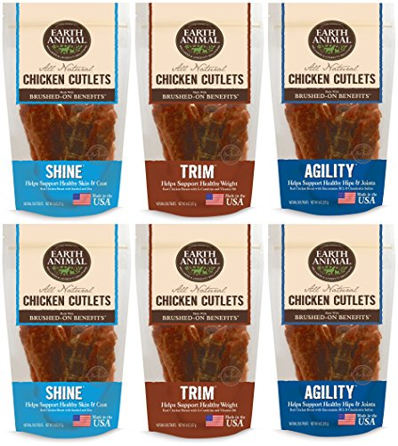 Earth Animal Chicken Cutlets Combo Pack, Includes 2 Packs of each: Trim, Agility, and Shine (8 Ounces Per Pack)