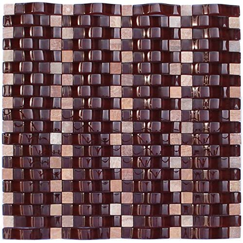 durable modeling Merlot Ripple Series Dark Red 3D Wave Backsplash Glass Stone Mosaic Tile for Kitchen Bathroom (1 Box / 8 Sheets)