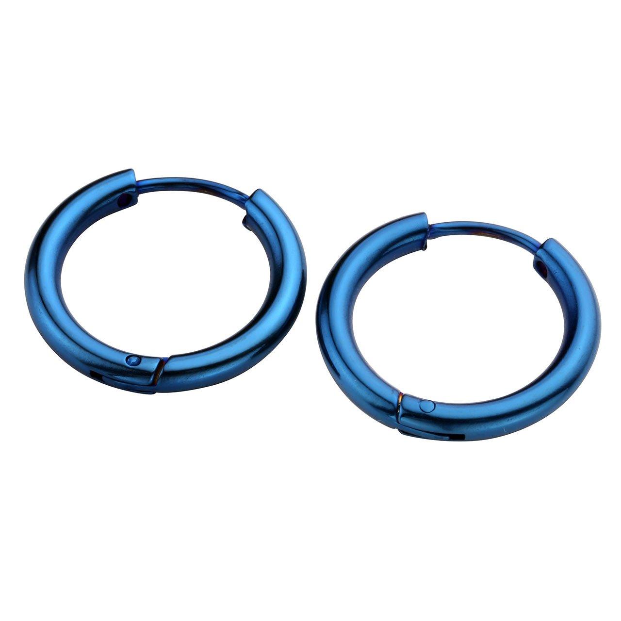 JSDDE 6pcs Boucle d\'Oreille Set Unisex Anneau Tube Circulaire Acier Inoxydable Or Rose Bleu Multicolore Or Argent Noir 14mm