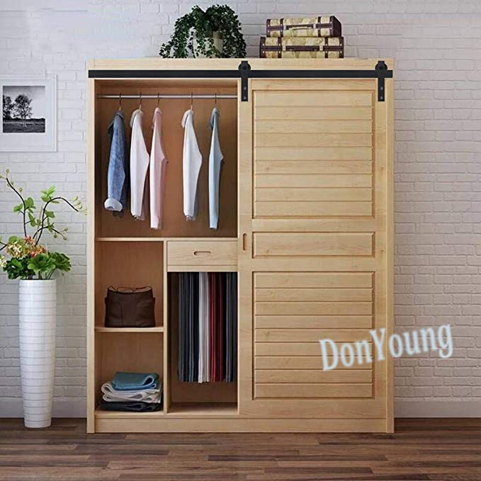 Millones de mini armario puerta corrediza de granero pista Kit de Hardware para armario de armario y soporte de TV individual pequeña puerta, negro: Amazon.es: Bricolaje y herramientas