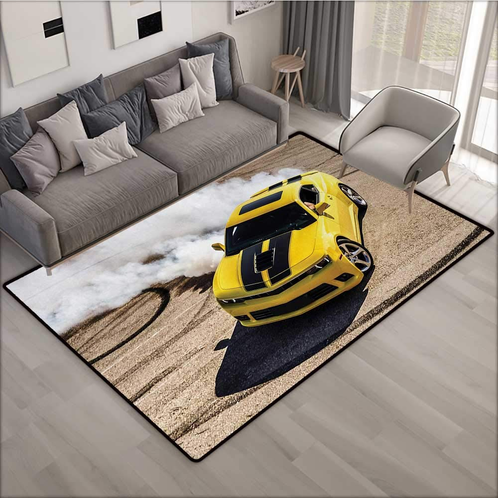 Manly Indoor Floor mat Yellow Sports Car Drifting Smoke Fast
