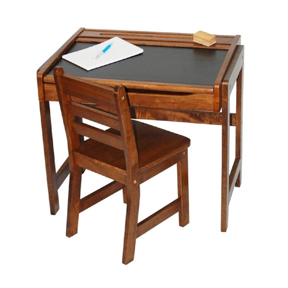 Lipper International Kids Desk with Chalkboard Top & Chair Set in Walnut, Kids Activity Table Set
