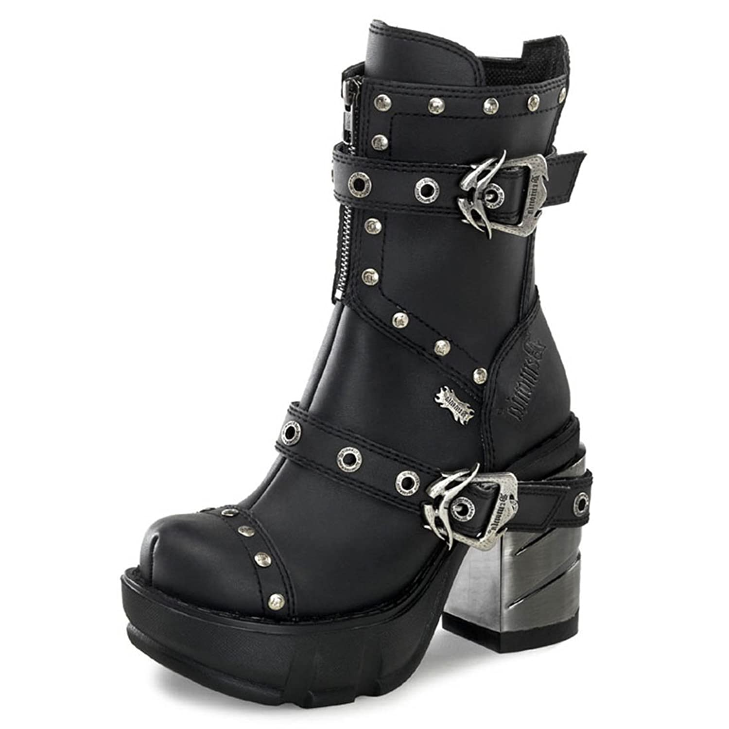 Womens Sizing Vegan Black Studded Ankle Boots with Buckle and 3.5 Inch ABS Heel