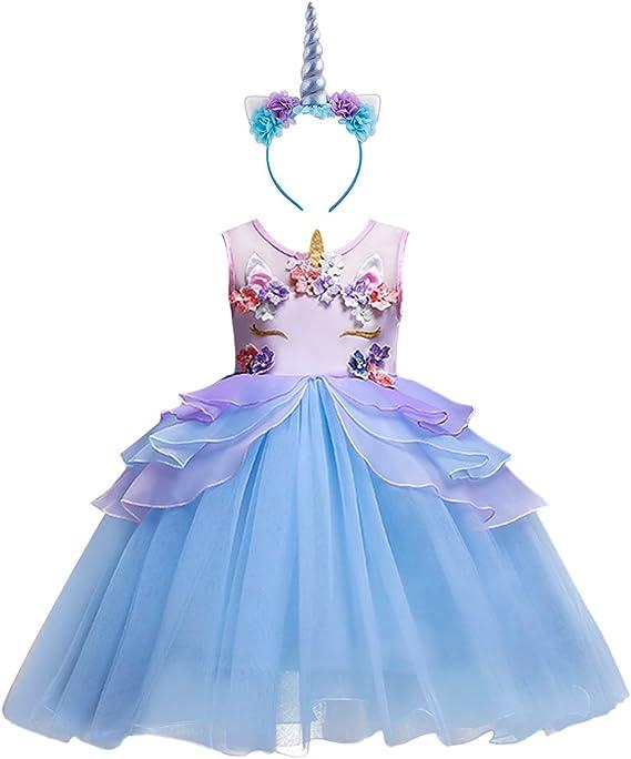 Niña Vestido 2PCS Princesa Unicornio Disfraz de Verano Cosplay ...