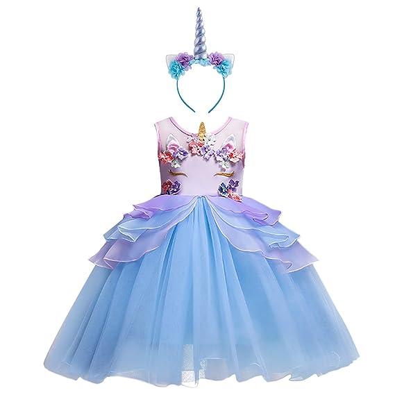 Niña Vestido 2PCS Princesa Unicornio Disfraz de Verano Cosplay Tutu Falda para Arco Iris Fiesta Carnaval Bautizo Cumpleaños Comunión Boda Flor Niñas ...