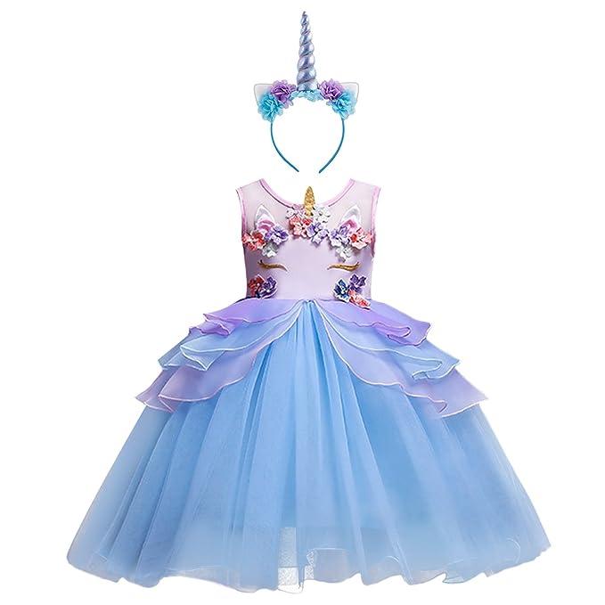 IBTOM CASTLE Niña Vestido 2PCS Princesa Unicornio Disfraz de Verano Cosplay Tutu Falda para Arco Iris