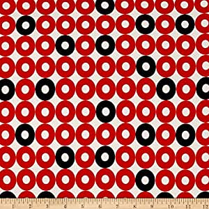 Cotton + Steel Rotary Club Rayon Challis Ring Rings Red-Navy Fabric By The Yard