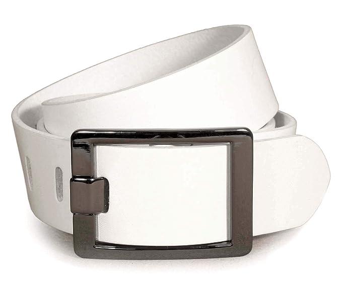 Mujer 100% Cuero Real Cinturón Blanca 28, 30, 32, 34, 36, 38 ...