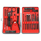 Nail Clipper Set, TOPELEK Manicure, Pedicure and Grooming Kit, Professional Stainless Steel Nail Clipper and Tweezer Nail Clipper Set, 18 pcs in Total, with Luxurious Case for Father's Day Gift, for Hand, Face and Foot Care