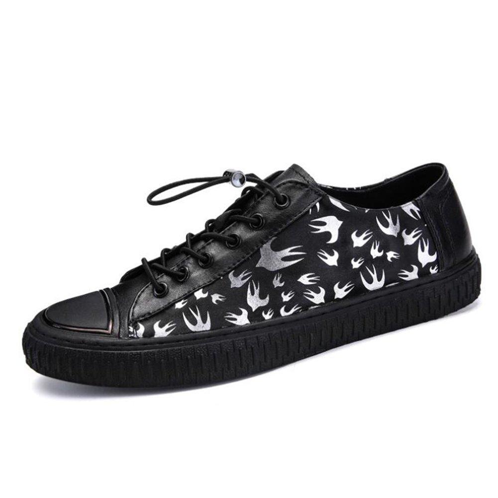 HUAN Zapatos Casuales Para Hombre 2018 New Spring Fall Leather con Cordones Mocasines Planos Zapatos de Plataforma Comfort Driving Shoes Zapatillas de Moda Negro Black