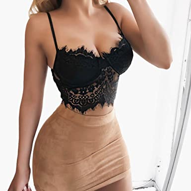 db345ddd09cdd6 Amazon.com: Ularma 2019 Sexy Women Floral Lace Bandage Bralette Bustier  Crop Top Bra Shirt Vest Black White: Clothing