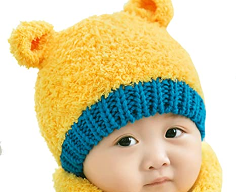 e37ebd1e264 Cute Little Bear Knitted Wool Crochet Hat and Scarf Set Baby Girls Boys Caps  Winter Warm