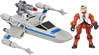 STAR WARS THE FORCE AWAKENS HERO MASHERS RESISTANCE X-WING FIGHTER /& PILOT NEW