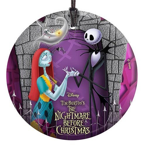 Trend Setters Nightmare Before Christmas Hanging StarFire Prints Hanging Glass- Jack and Sally with Zero