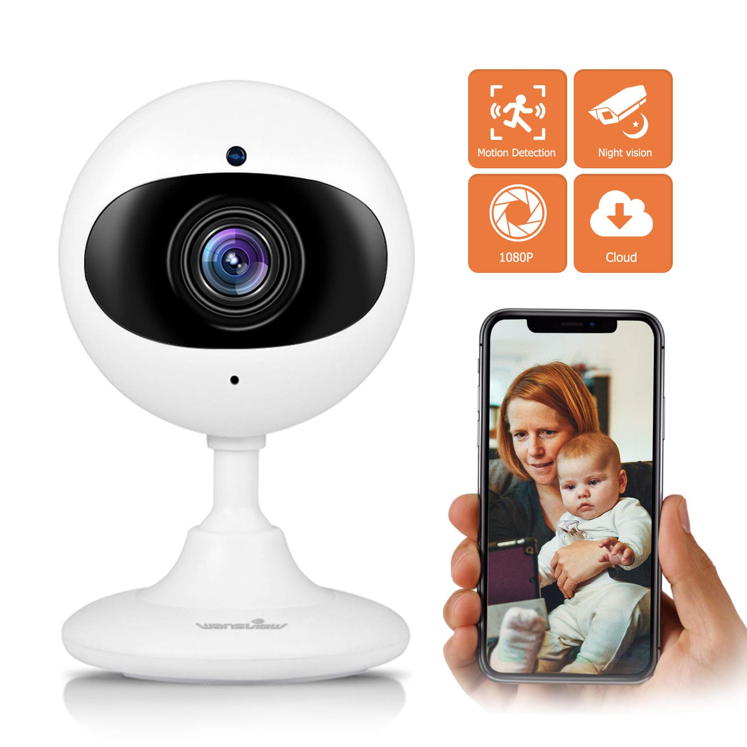 Wansview Wireless Security Camera, 1080P HD WiFi Home Security Indoor IP  Camera with Motion Detection, Night Vision and Two-Way Audio for