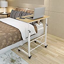 "Soges Adjustable Lap Table 31.4"" Portable Laptop Computer Stand Desk Cart Tray Side Table for Bed Sofa Hospital Nursing Reading Eating, Teak SSC6-80TCA"
