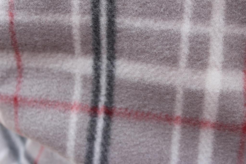 Grey Plaid Fleece Infinity Scarf