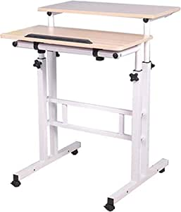 Mind Reader SDROLL-WHT Mobile Sitting, Standing Desk Rolling Reversible Home Office Laptop Workstation with Side Storage, Locking Wheels, Large, White