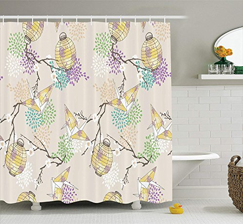 SZZWY Colorful Origami Cranes Paper Lanterns with Branches and Flowers Culture Lantern Decor Collection Polyester Fabric Bathroom Shower Curtain with Hooks Lilac Pink Beige Yellow