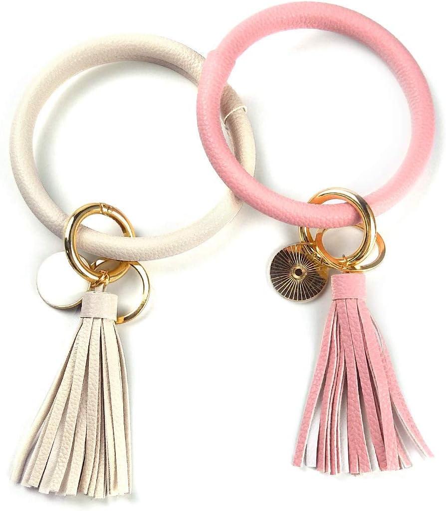 AugSep 2pcs mitón del Llavero del Brazalete del Anillo de Claves, tecla de círculo de Cuero Anillo de la Borla de un Brazalete para Las Mujeres Chica (de Color Blanquecino + Rosa)