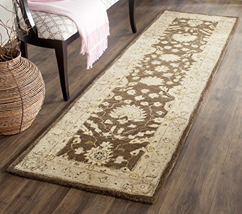 Safavieh Anatolia Collection AN564A Handmade Traditional Oriental Chocolate and Ivory Wool Runner (2'3