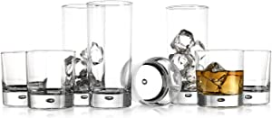 Drinking Glassware Set by Home Essentials and Beyond– Set of 8 Tumbler and Rocks Glasses-Includes 4 Cooler Glasses (17oz) and 4 Rocks Glasses (10oz), – Suitable for Cocktails, Whisky, Juice, Beer