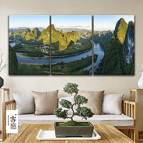 3 Panel Bird View Landscape of Mountains Rivers and Village x 3 Panels