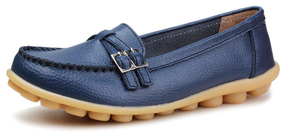 Kunsto Women's Leather Loafer Shoes Slip On US Size 10.5 Blue