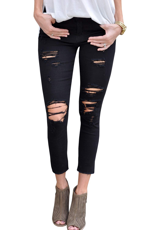 Geckatte Womens Juniors Sexy Comfy Stretch Jeans Distressed Capri Skinny Ripped Pencil Pants