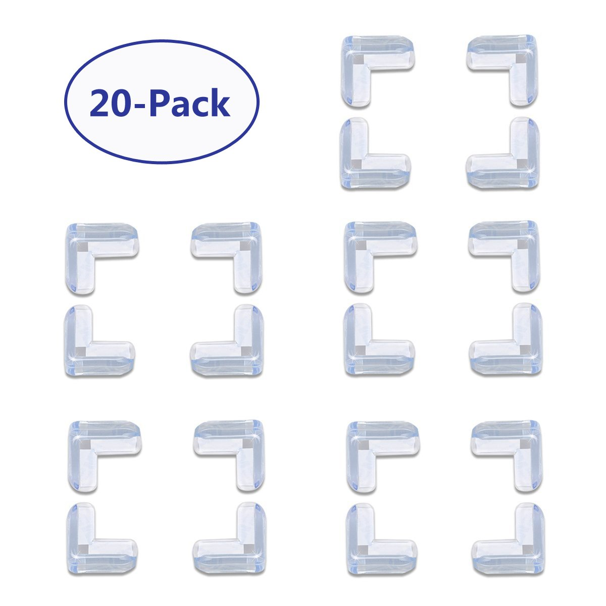 SunTrade 20-Pack Baby Proof Corner Guards,Clear Corner Protectors,Tables, Furniture Sharp Corners Baby Proofing (L-Shaped)