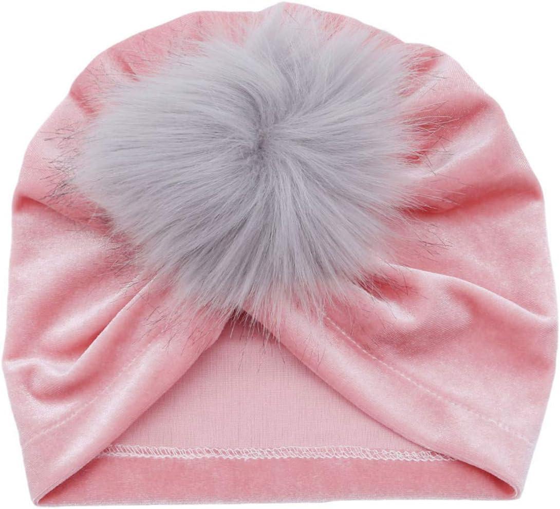 Aofocy Automne cr/éatif hiver b/éb/é bonnet chaud enfants chapeau turban boule de poils