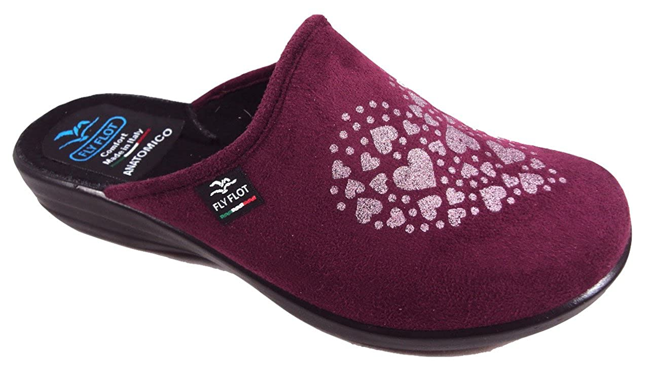 Fly Flot P3949 WD GRANATA CIABATTE DONNA MADE IN ITALY SOTTOPIEDE ANATOMICO ZEPPA 2,5 CM  Bordeaux