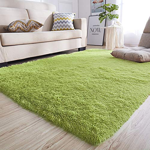 Junovo Rectangle Ultra Soft Area Rugs Fluffy Carpets for Bedroom Living Room Shaggy Floor Rug Home Decor Mats, 4 x 5.3ft, Green