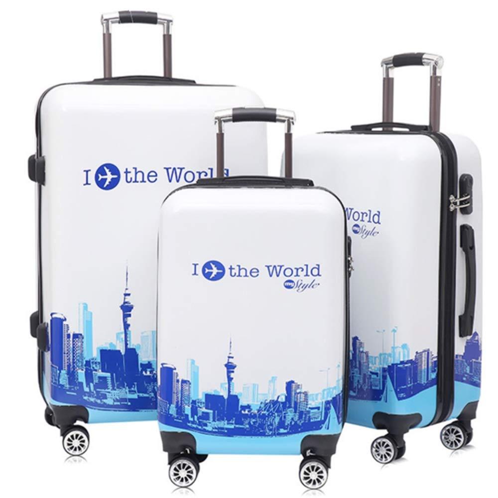 スーツケース 20インチ24インチ28インチ建築パターンハードシェル3ピース回転荷物セットスーツケースボックス列スーツケース360°サイレントローテーター多方向ホイール 大容量旅行スーツケース (色 : 青, サイズ : 20in+24in+28in) 20in+24in+28in 青 B07RSH87HJ