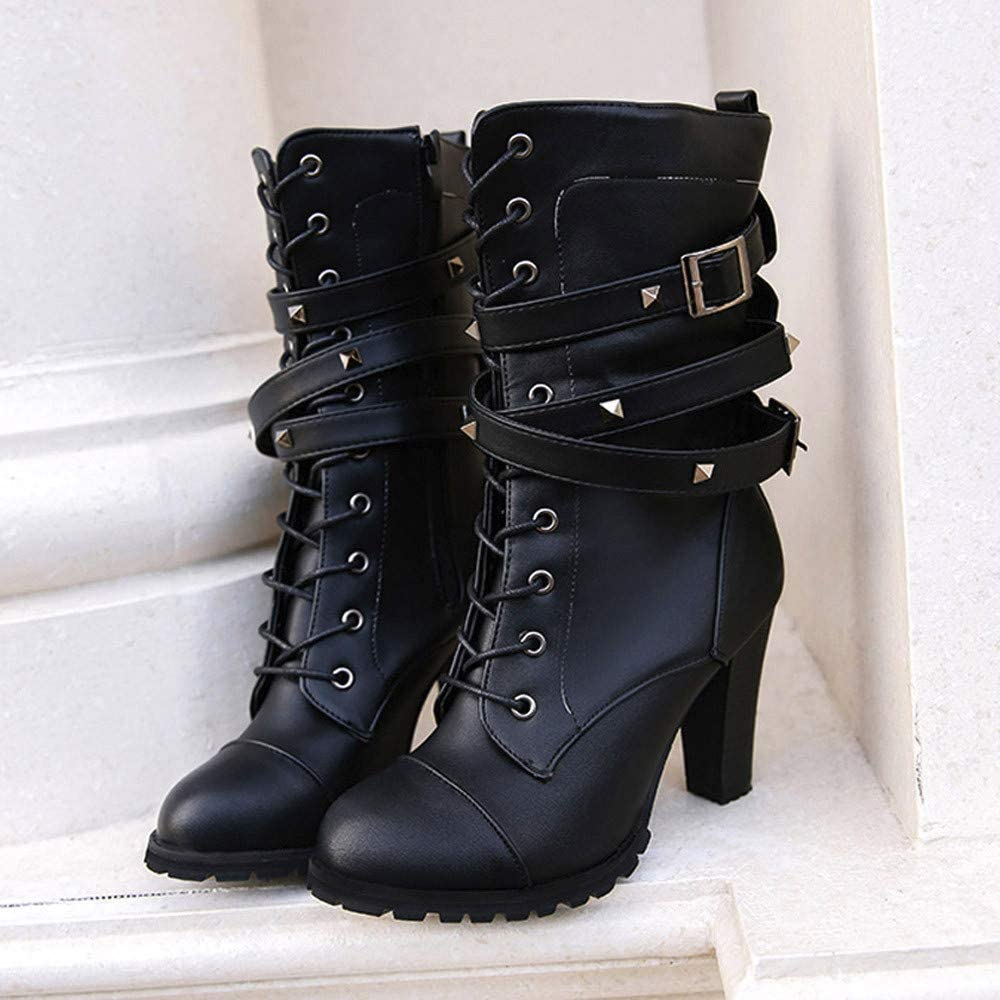 HYIRI High Heels Boots,Women Ladies Rivet Belt Mid-Calf Snow Motorcycle Shoes