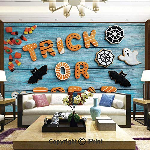 Lionpapa_mural Removable Wall Mural Ideal to Decorate Your Dining Room,Trick or Treat Cookie Wooden Table Ghost Bat Web Halloween,Home Decor - 66x96 -