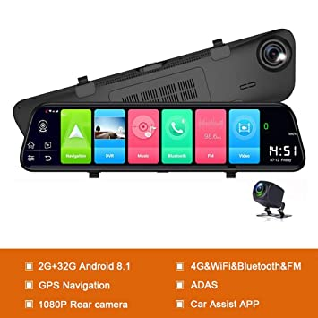 XIAOGUIGUI Android 8.1 DVR de Coche Cámara GPS Navi Mirror ...