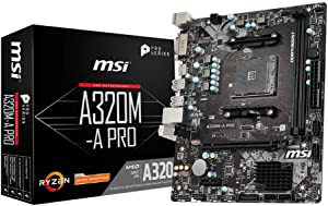 MSI ProSeries AMD A320 1st, 2nd, 3rd Gen Ryzen Compliant AM4 DDR4 HDMI DVI USB 3 Micro-ATX Motherboard (A320M-A PRO)