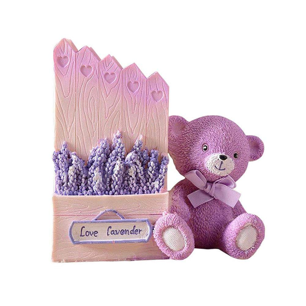 Lependor Cute Lavender Bear Desk Storage Box Pencil Pen Holder Cup Organizer Desktop Stationery Business Office Birthday Gift (Pink)
