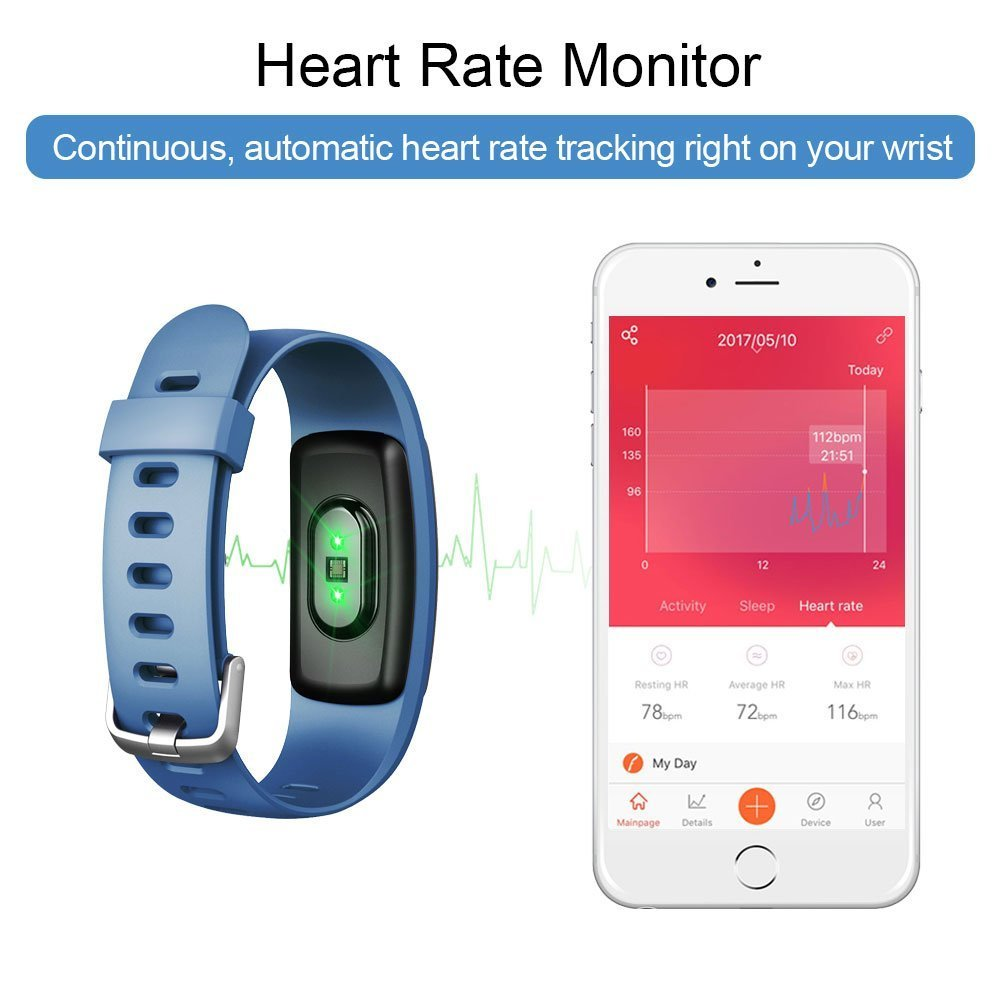 Lintelek Heart Rate Fitness Tracker Watch, Updated Activity Tracker with Multiple Sports Modes, IP67 Waterproof Touch Screen Smart Pedometer for Android and iOS Smart Phones by Lintelek (Image #4)