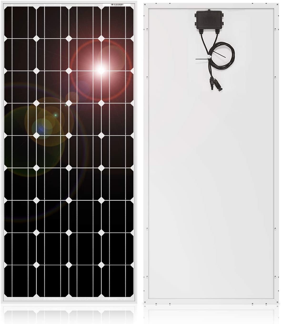 DOKIO 100w 18v Solar Panel German TÜV Certification Monocrystalline(HIGH Efficiency) to Charge 12v Battery(Vented AGM Gel) or Off-Grid and Hybrid Power System for Home/Garden RV,Boat
