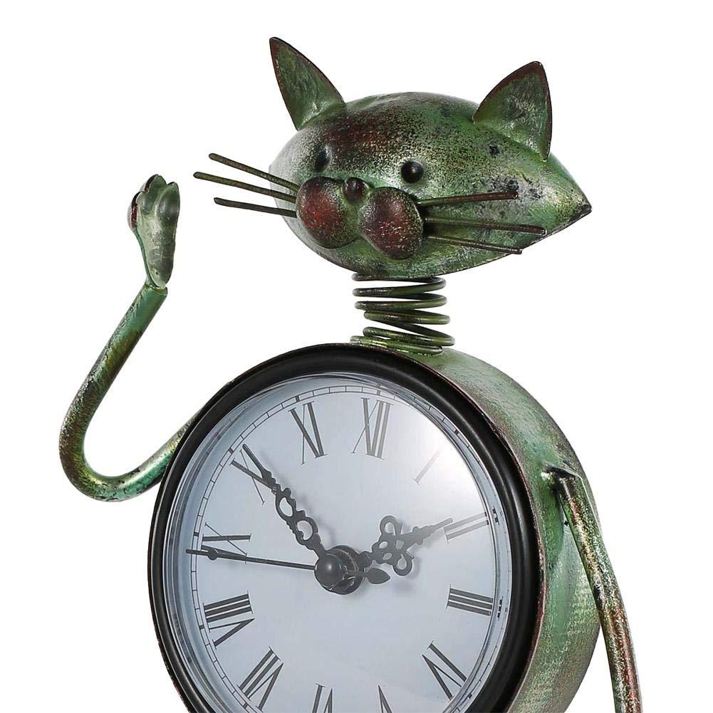 xluckx Horloge de Table Decorative Figurine de Chat en m/étal Vintage Fait Main dhorloge de Bureau pour Chat