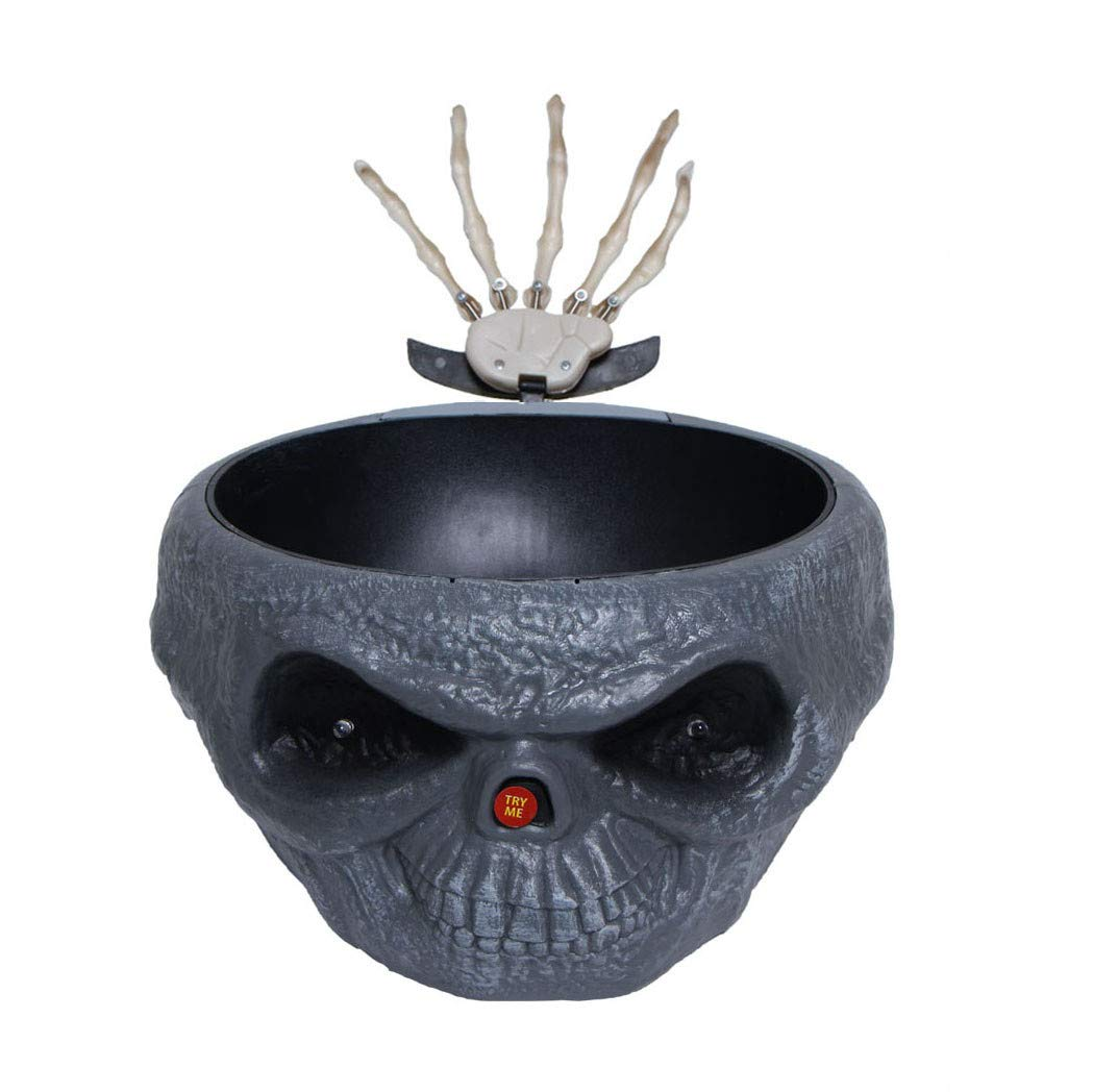 SUJING Snack Serving Dish,Halloween Decorations Fruit Dish with Jumping Skull Hand Halloween Decor Supply (Gray)