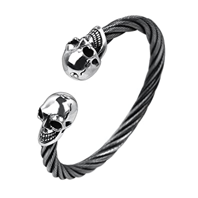 Rock & Ride Armband Kabel Draht-Open Faust Schädel Armband: Amazon ...