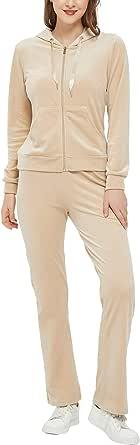 Woolicity Womens Sweatsuits Set 2 Piece Sweatshirt & Sweatpants Velour Full Sports Outfits Set Sportswear with Pocket