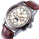 GuTe Luxury Gentleman Rose Gold Automatic Mechanical Wristwatch Dark Brown PU Strap Moon Phase