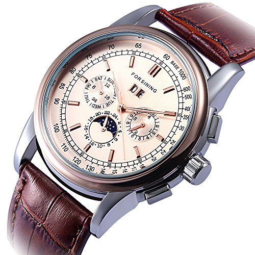 GuTe Luxury Gentleman Rose Gold Automatic Mechanical Wristwatch Dark Brown PU Strap Moon Phase (Automatic Moon Phase Watch)