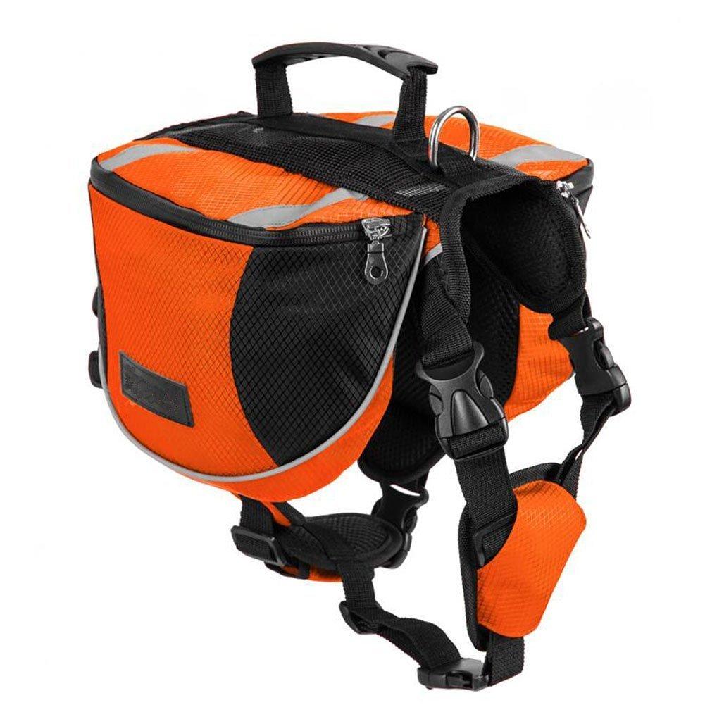 Lifeunion Polyester Dog Saddlebags Pack Hound Travel Camping Hiking Backpack Saddle Bag for Small Medium Large Dogs (Orange,S)