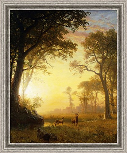 Framed Canvas Wall Art Print | Home Wall Decor Canvas Art | Light in The Forest, by Albert Bierstadt | Casual Decor | Stretched Canvas Prints ()